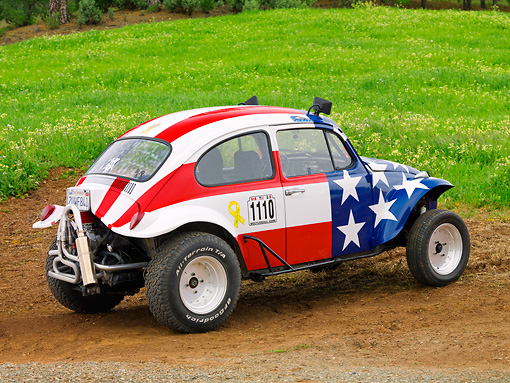 AUT 22 RK3202 01 © Kimball Stock 1967 Volkswagen Baja American Flag 3/4 Rear View On Dirt By Field