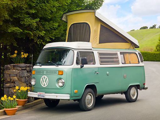 AUT 22 RK3203 01 © Kimball Stock 1969 Volkswagen Westfalia Camper Green And White 3/4 Front View On Pavement By Yellow Flowers