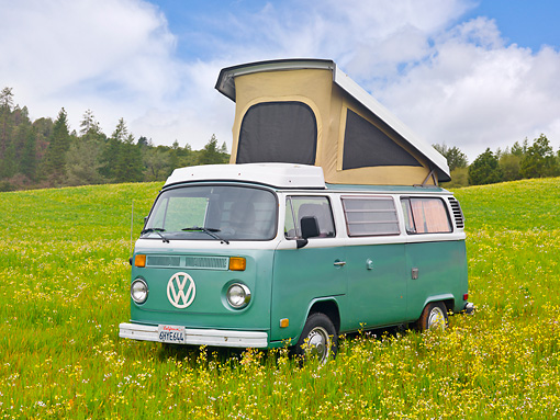 AUT 22 RK3204 01 © Kimball Stock 1969 Volkswagen Westfalia Camper Green And White 3/4 Front View On Grass