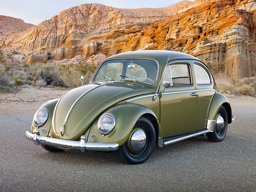 AUT 22 RK3217 01 © Kimball Stock 1963 Volkswagen Beetle Green 3/4 Front View On Pavement By Cliffside