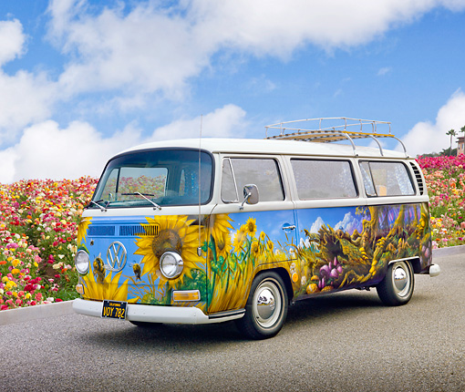 AUT 22 RK3235 01 © Kimball Stock 1968 VW Transporter Bus Sunflower Mural 3/4 Front View On Pavement By Flowers