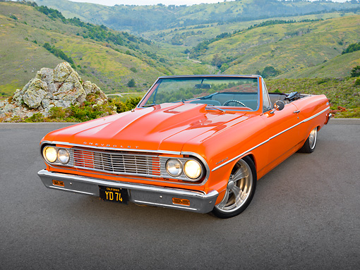 AUT 22 RK3258 01 © Kimball Stock 1964 Chevrolet Chevelle Orange 3/4 Front View On Pavement By Hills