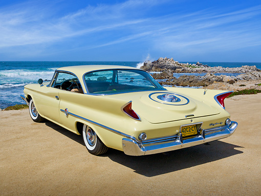 AUT 22 RK3275 01 © Kimball Stock 1960 Chrysler 300F Sunburst 3/4 Rear View On Beach