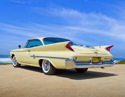 AUT 22 RK3277 01 © Kimball Stock 1960 Chrysler 300F Sunburst 3/4 Rear View On Beach