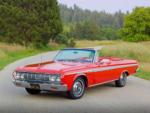 AUT 22 RK3291 01 © Kimball Stock 1964 Plymouth Sport Fury Convertible Red 3/4 Front View On Road By Evergreen Trees