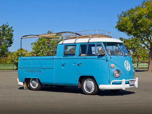 AUT 22 RK3320 01 © Kimball Stock 1966 Volkswagen Double Cab Light Blue 3/4 Side View On Pavement By Trees