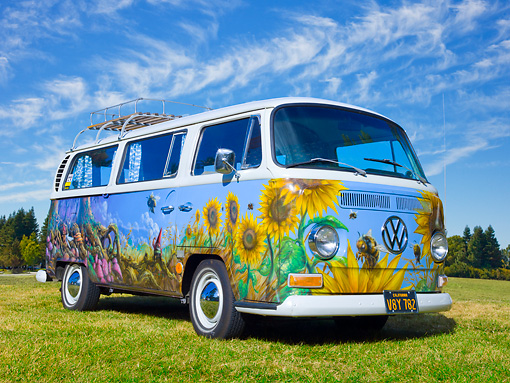 AUT 22 RK3323 01 © Kimball Stock 1968 Volkswagen Transporter Bus With Sunflower Mural 3/4 Front View On Grass