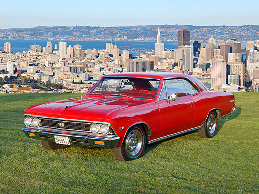 AUT 22 RK3334 01 © Kimball Stock 1966 Chevrolet Chevelle Red 3/4 Front View On Grass Overlooking San Francisco