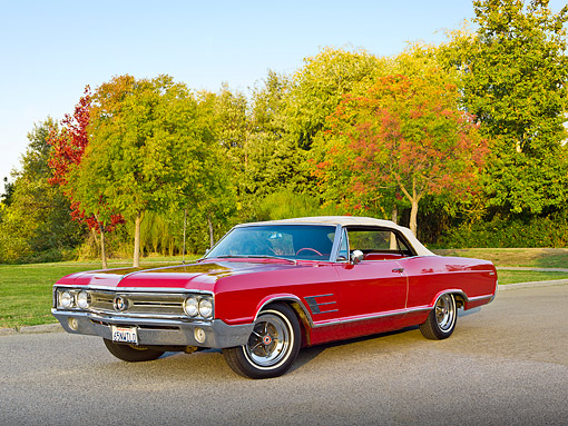 AUT 22 RK3341 01 © Kimball Stock 1965 Buick Wildcat Convertible Red 3/4 Front View On Pavement By Autumn Trees