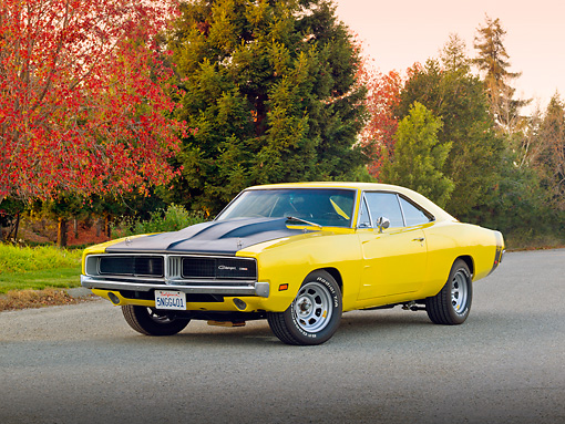AUT 22 RK3365 01 © Kimball Stock 1969 Dodge Charger Yellow And Black 3/4 Front View On Pavement By Autumn Trees
