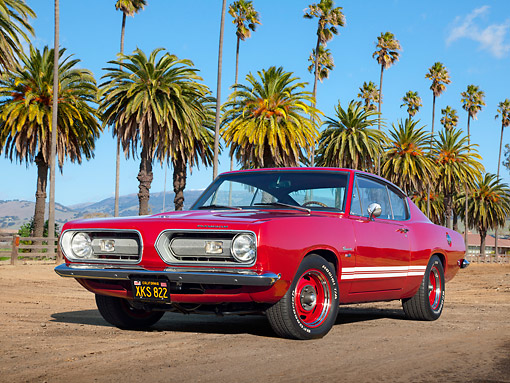 AUT 22 RK3375 01 © Kimball Stock 1968 Plymouth Barracuda Red 3/4 Front View On Dirt By Palm Trees