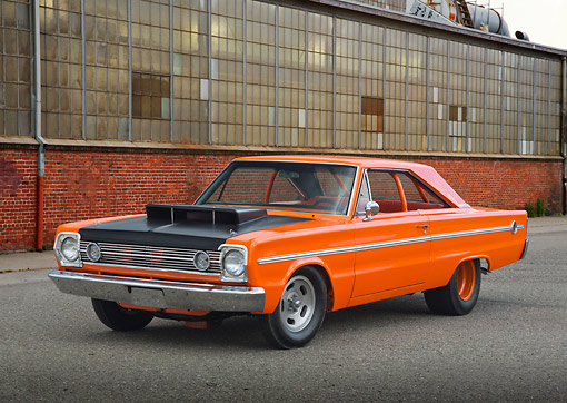 AUT 22 RK3418 01 © Kimball Stock 1966 Plymouth Belvedere II Orange 3/4 Front View On Pavement By Old Factory Building