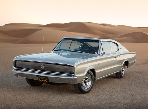 AUT 22 RK3425 01 © Kimball Stock 1966 Dodge Hemi Charger Silver Gray 3/4 Front View On Gravel By Sand Dunes