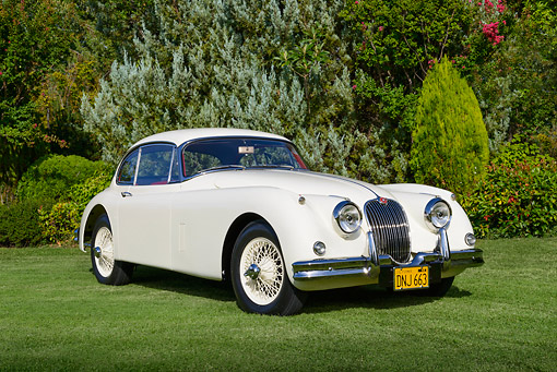 AUT 22 RK3429 01 © Kimball Stock 1960 Jaguar XK-150 SE Cream 3/4 Front View On Grass By Trees