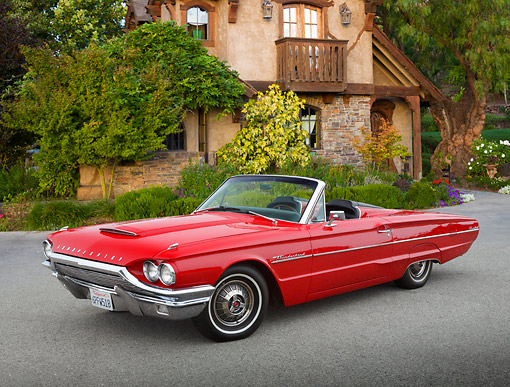 AUT 22 RK3430 01 © Kimball Stock 1964 Ford Thunderbird Red 3/4 Front View On Pavement By House
