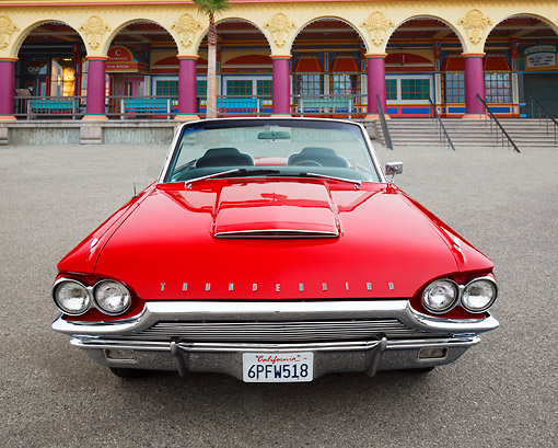 AUT 22 RK3432 01 © Kimball Stock 1964 Ford Thunderbird Red Front View On Boardwalk