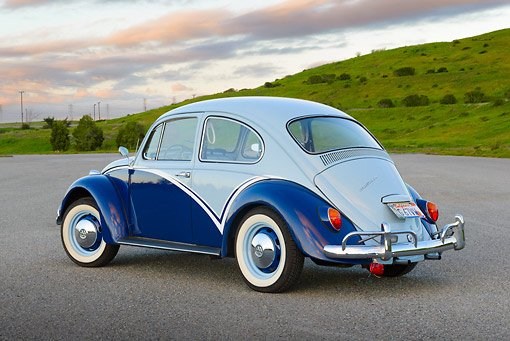 AUT 22 RK3462 01 © Kimball Stock 1967 Volkswagen Beetle Blue And Aqua 3/4 Rear View On Pavement By Grassy Hills