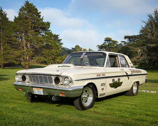 AUT 22 RK3465 01 © Kimball Stock 1964 Ford Fairlane Thunderbolt Drag Car White 3/4 Front View On Grass By Trees