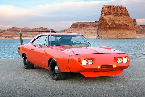 1969 Dodge Charger Daytona Hemi Orange 3 4 Front View On Gravel By
