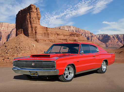 AUT 22 RK3490 01 © Kimball Stock 1967 Dodge Charger Red 3/4 Front View On Pavement In Desert