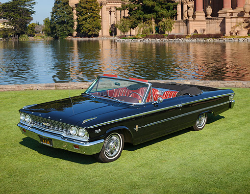 AUT 22 RK3505 01 © Kimball Stock 1963 Ford Galaxie 500 XL Black 3/4 Front View On Grass By Palace Of Fine Arts