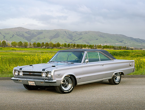 AUT 22 RK3506 01 © Kimball Stock 1967 Plymouth Belvedere GTX Hemi Silver 3/4 Side View On Pavement By Field