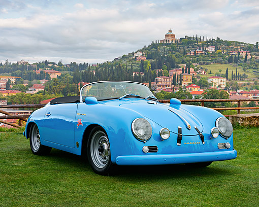 AUT 22 RK3527 01 © Kimball Stock 1960 Volkswagen Porsche 356 Carrera GS/GT Replica Blue 3/4 Front View On Grass By Hills