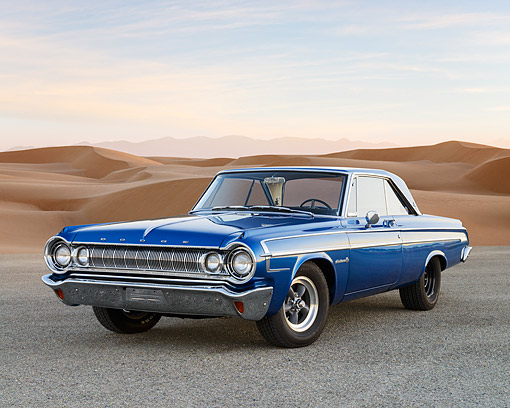 AUT 22 RK3537 01 © Kimball Stock 1964 Dodge Polara 500 Blue 3/4 Front View On Gravel By Sand Dunes