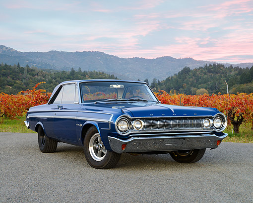 AUT 22 RK3538 01 © Kimball Stock 1964 Dodge Polara 500 Blue 3/4 Front View On Gravel By Autumn Vineyard