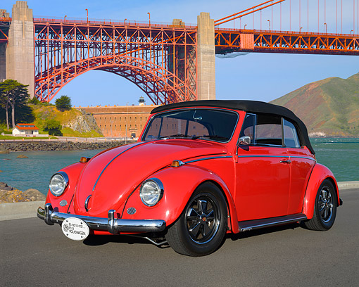 AUT 22 RK3542 01 © Kimball Stock 1967 Volkswagen Beetle Convertible Red 3/4 Front View On Pavement By Golden Gate Bridge