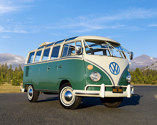 AUT 22 RK3549 01 © Kimball Stock 1967 Volkswagen 21 Window Bus Velvet Green 3/4 Front View On Pavement By Mountains