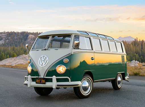 AUT 22 RK3550 01 © Kimball Stock 1967 Volkswagen 21 Window Bus Velvet Green 3/4 Front View On Pavement By Mountains At Sunset