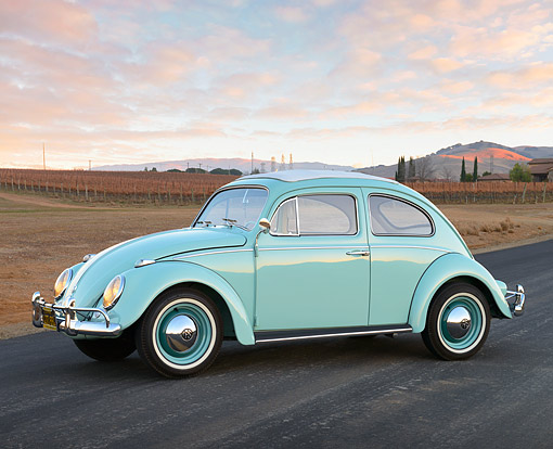 AUT 22 RK3555 01 © Kimball Stock 1961 Volkswagen Bug Sea Foam Green 3/4 Side View On Road By Vineyard At Dusk