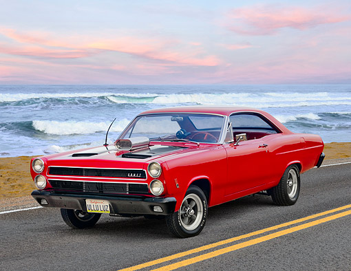 AUT 22 RK3560 01 © Kimball Stock 1966 Mercury Cyclone Rio Red 3/4 Front View On Road By Beach