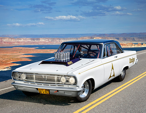 AUT 22 RK3561 01 © Kimball Stock 1965 Dodge Coronet White And Purple 3/4 Front View On Road In Desert