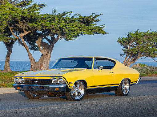 AUT 22 RK3564 01 © Kimball Stock 1968 Chevrolet Chevelle SS 396 Yellow 3/4 Front View On Pavement By Water