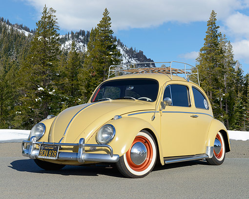 AUT 22 RK3568 01 © Kimball Stock 1963 Volkswagon Beetle Cream Yellow With Red Rims 3/4 Front View On Pavement