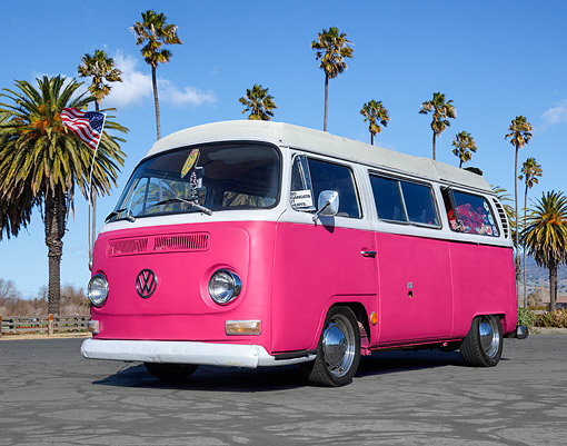 AUT 22 RK3581 01 © Kimball Stock 1969 Volkswagon Bus Pink And White 3/4 Front View On Pavement