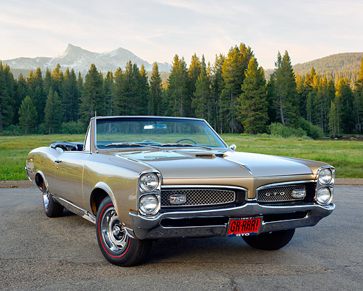 AUT 22 RK3582 01 © Kimball Stock 1967 Pontiac GTO Convertible Gold On Pavement