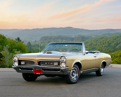 AUT 22 RK3583 01 © Kimball Stock 1967 Pontiac GTO Convertible Gold On Pavement