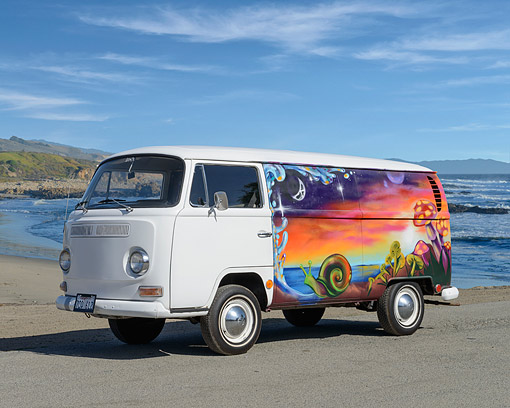 AUT 22 RK3590 01 © Kimball Stock 1968 Volkswagon Bus White With Mural Profile View On Pavement