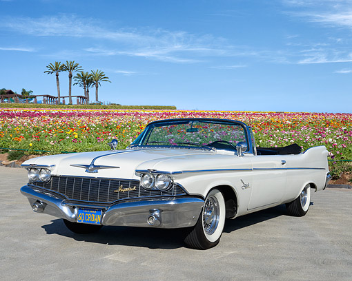 AUT 22 RK3593 01 © Kimball Stock 1960 Chrysler Crown Imperial Convertible White 3/4 Front View On Pavement