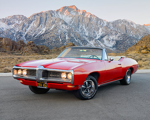 AUT 22 RK3605 01 © Kimball Stock 1968 Pontiac Lemans Convertible Red 3/4 Front View On Pavement