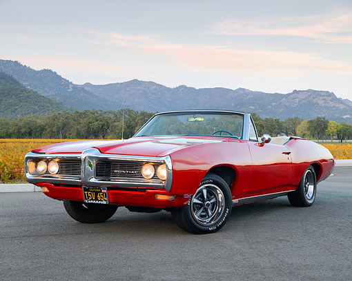 AUT 22 RK3606 01 © Kimball Stock 1968 Pontiac Lemans Convertible Red 3/4 Front View On Pavement