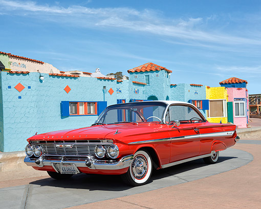 AUT 22 RK3615 01 © Kimball Stock 1961 Chevrolet Impala Red 3/4 Front View By Bright Homes