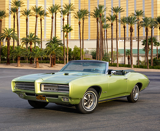 AUT 22 RK3624 01 © Kimball Stock 1969 Pontiac GTO Limelight Green 3/4 Front View By Fancy Hotel