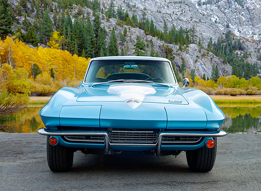 AUT 22 RK3636 01 © Kimball Stock 1966 Chevrolet Corvette Blue Front View On Pavement By Mountain Lake
