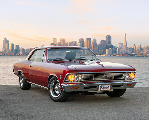 AUT 22 RK3638 01 © Kimball Stock 1966 Chevrolet Chevelle Malibu Red 3/4 Front View By The Bay