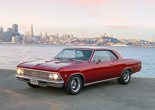 AUT 22 RK3639 01 © Kimball Stock 1966 Chevrolet Chevelle Malibu Red 3/4 Front View By The Bay