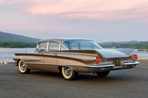 AUT 22 RK3642 01 © Kimball Stock 1960 Buick LeSabre Tahitian Beige 3/4 Rear By Lake